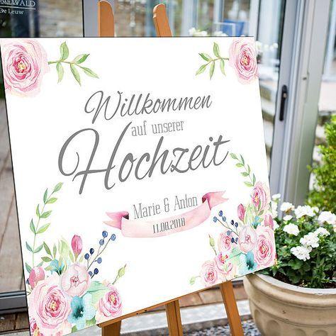 Hochzeit Willkommensschild Floral Mit Rosa Und Blau Grunen Bluten