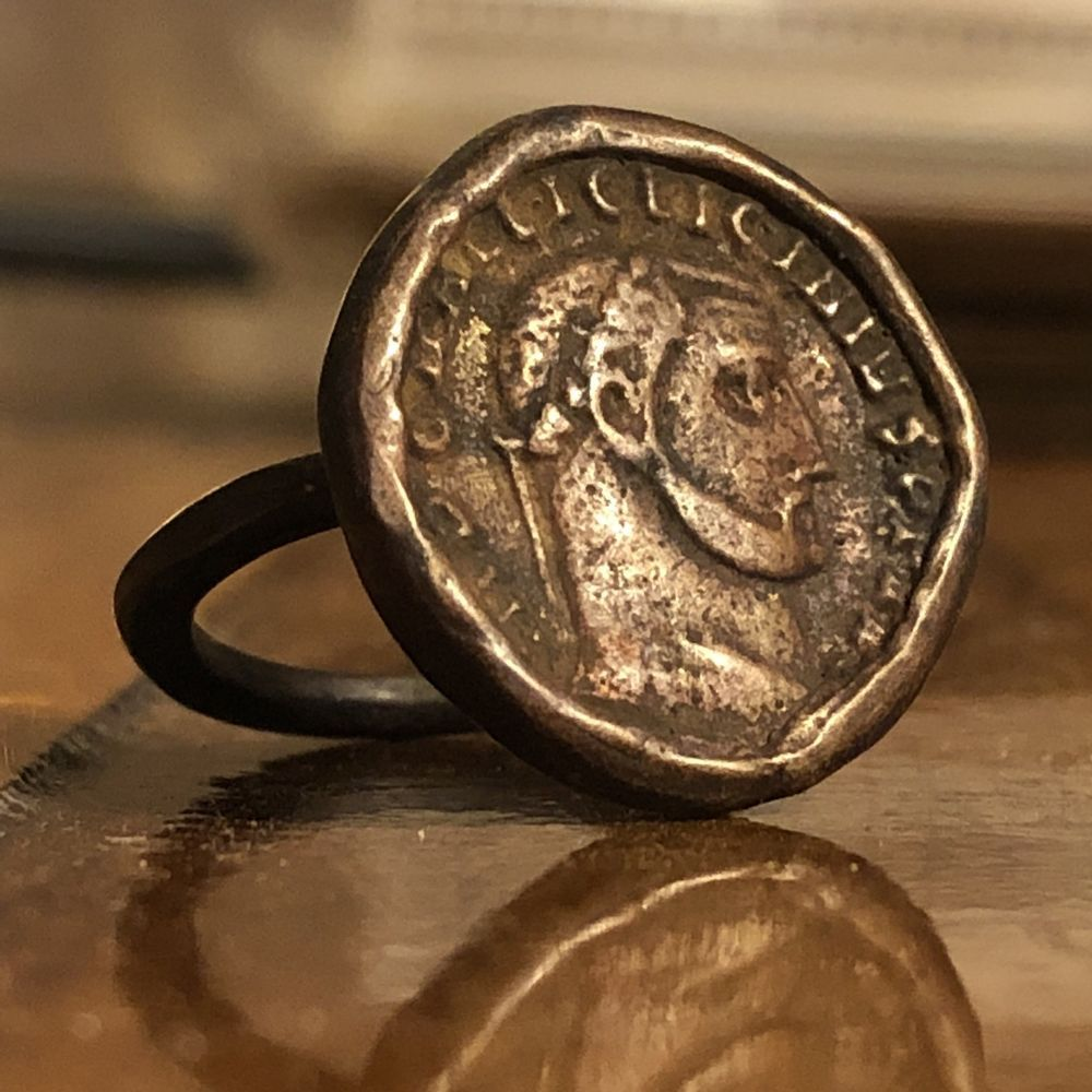 Ancient Intaglio Ring Coin Token Roman? European? Antique Old Seal