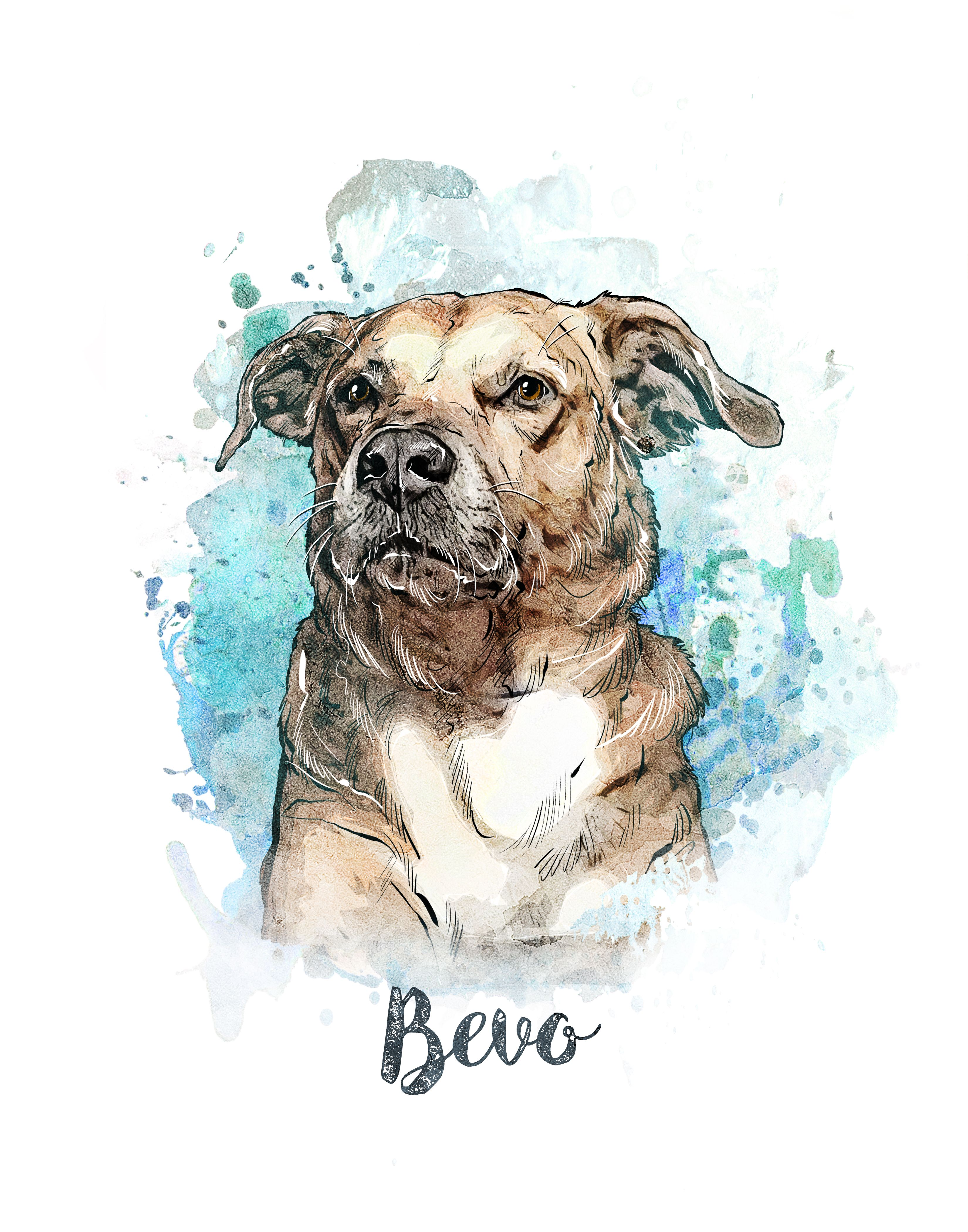 Pet portrait Custom Dog portrait Watercolor