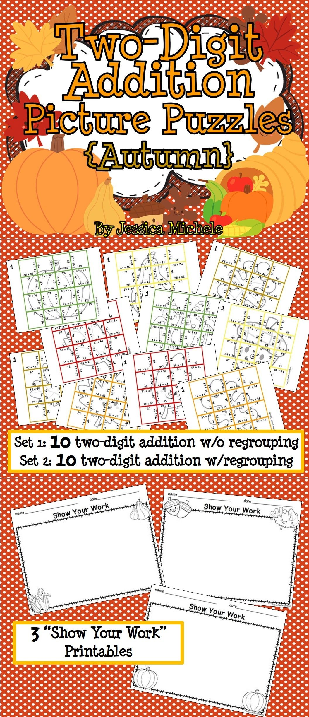 Two Digit Addition Picture Puzzles Autumn
