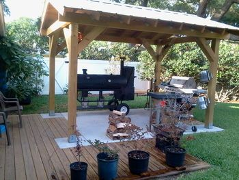 Post Pictures Of Your Patio Deck With Grills Smokers Bbq Shed Grill Gazebo Outdoor Living Patios