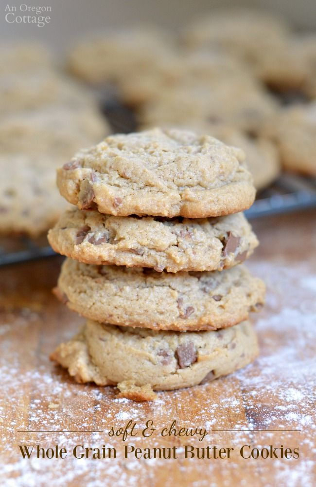 Soft And Chewy Whole Grain Peanut Butter Cookies Soft And Chewy Whole Grain Peanut Butter Cookies- with or without chocolate. These cookies are SO good and make a great snack with milk or dessert with coffee.