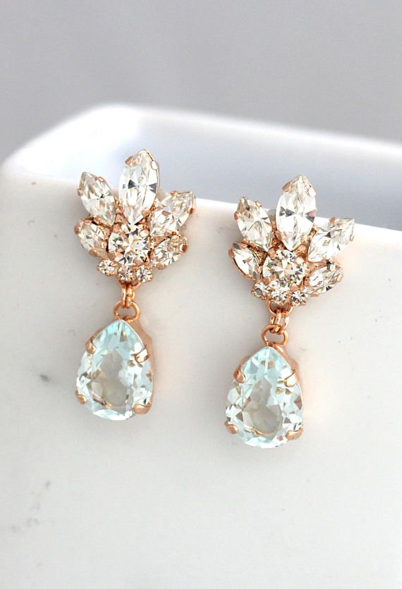 77a65532b Bridal Chandeliers, Aquamarine Chandelier, Blue Sky Earrings, Bridal  Earrings, Rose Gold Bridal Earrings, Bridal light Blue Drop Earrings.