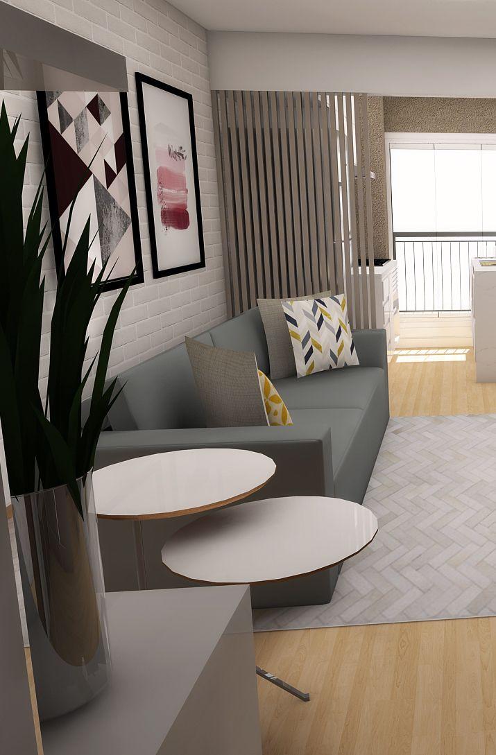 Sala aconchegante em apartamento colorido e jovem ...