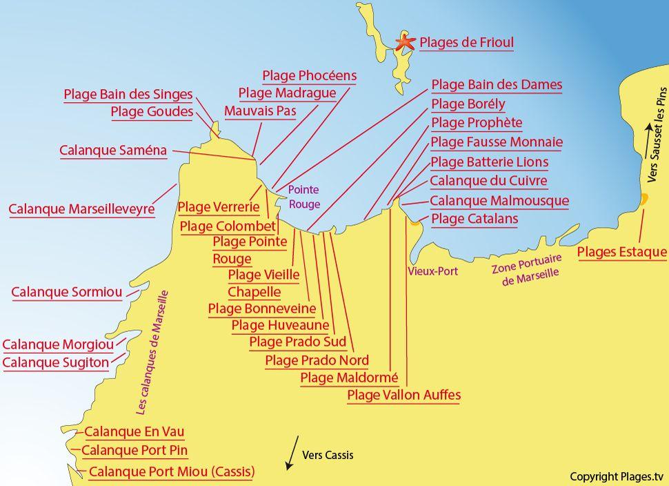 Carte Des Plages De Marseille Marseille Plage Marseille Calanque