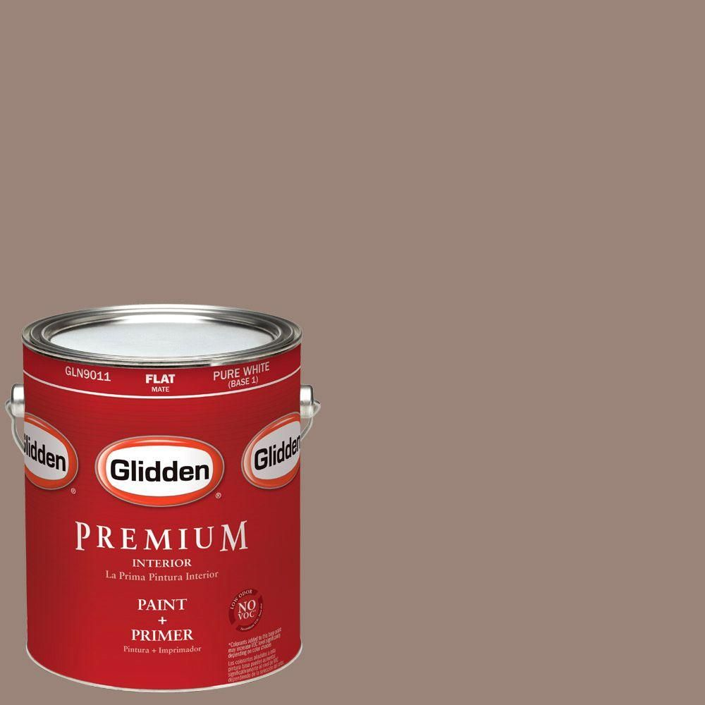 Glidden Premium 1-gal. #HDGWN11D Rowhouse Brown Flat Latex Interior Paint with Primer