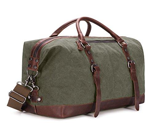 BAOSHA Oversized Canvas PU Leather Travel Tote Duffel Bag ...