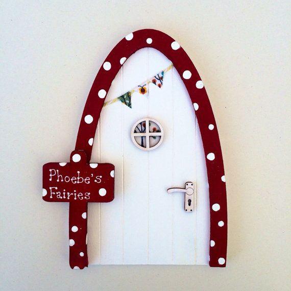 Personalised fairy door red and white toadstool fairy for Elf door and elf