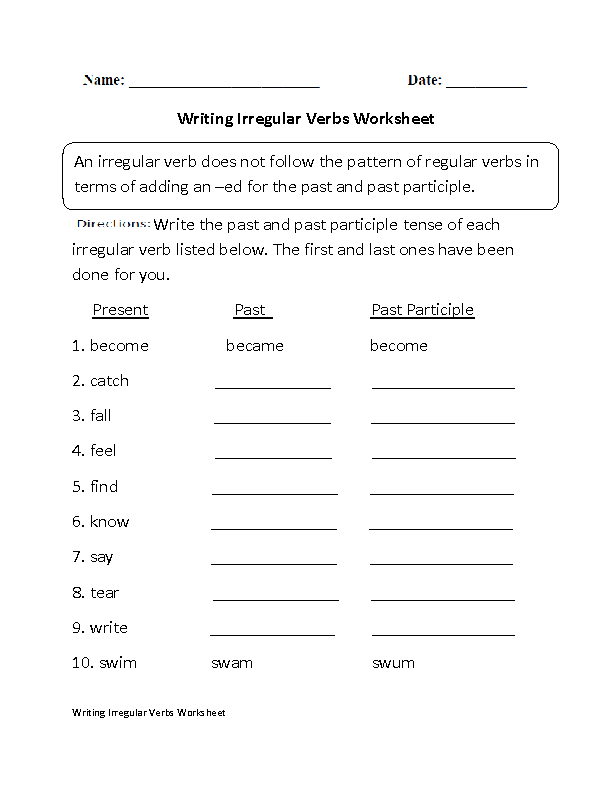 Englishlinx.com Verbs Worksheets Verb Worksheets, Irregular Verbs,  Regular Verbs