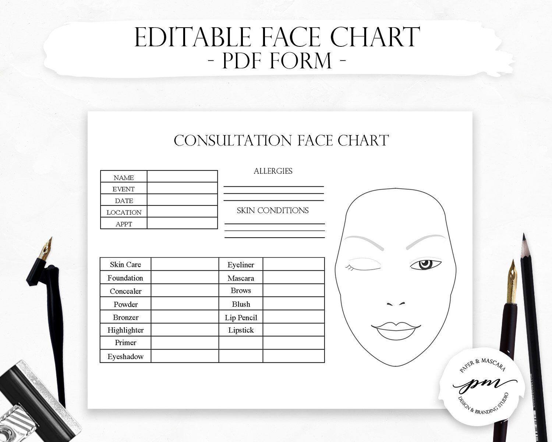 Editable Makeup Artist Face Chart, Freelance Makeup Artist