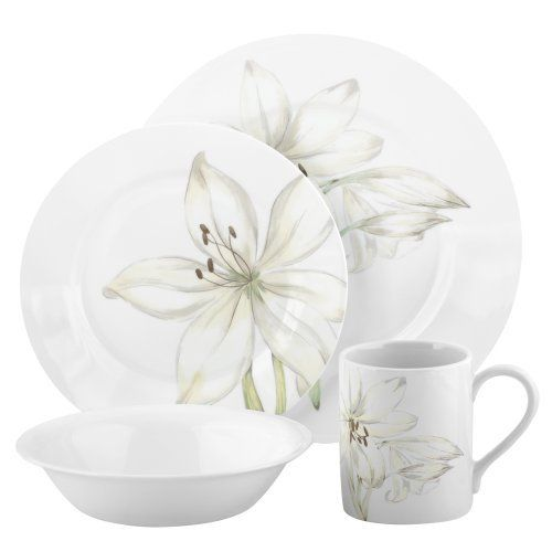 Corelle Impressions White Flower 16-Piece Dinnerware Set, Service ...