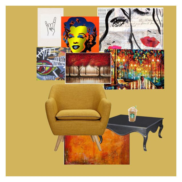"""""""Untitled #616"""" by kourtniestarr on Polyvore featuring interior, interiors, interior design, home, home decor, interior decorating, Urban Outfitters, Oliver Gal Artist Co., Andy Warhol and iCanvas"""