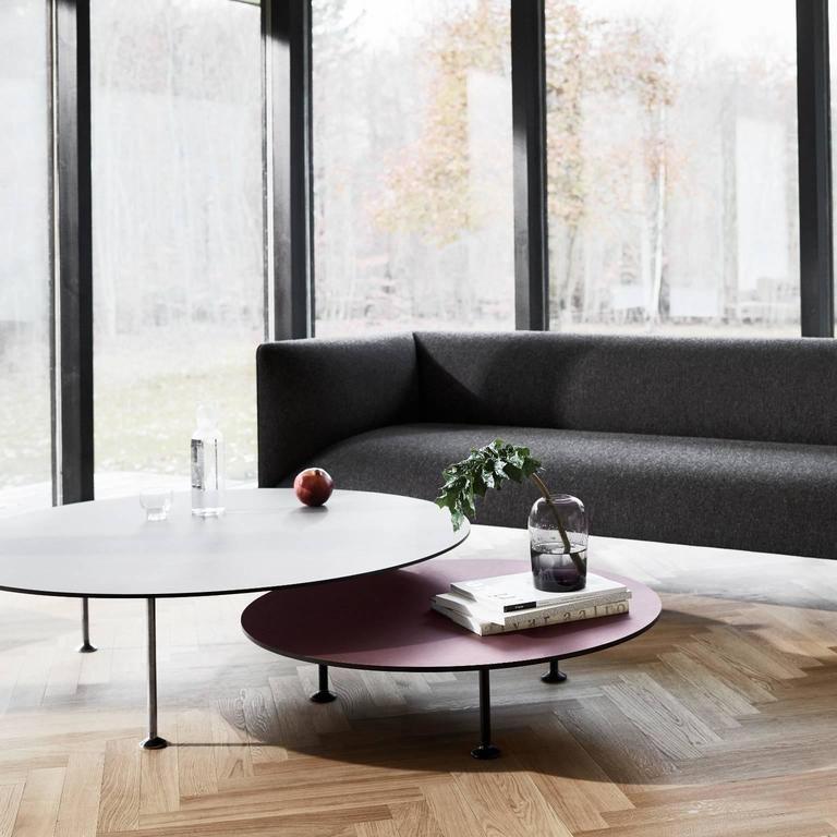 Polish Godot Coffee Table Round Mdf Burgundy Linoleum Custom