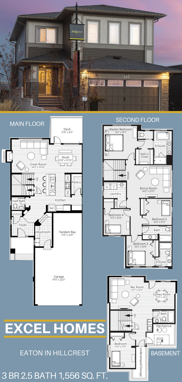 Eaton 2 Story Floor Plan With Basement 3 Bedroom 2 5 Bathroom 1 556 Sq Ft From Excel Home Basement House Plans House Blueprints 3 Bedroom Home Floor Plans