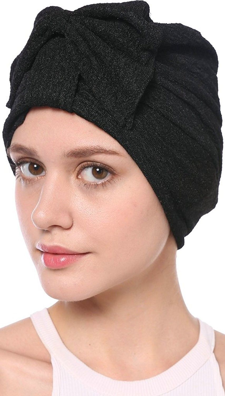 2834c19b24a Women s Elegant Stretch Bow Leopard Indian Cap Muslim Turban 6 Colors -  Black - C1183MG8M83 - Hats   Caps