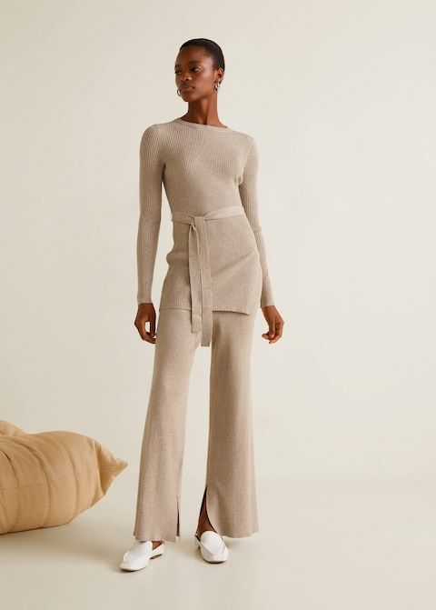 Photo of Ribbed flare trousers –  Women | Mango USA
