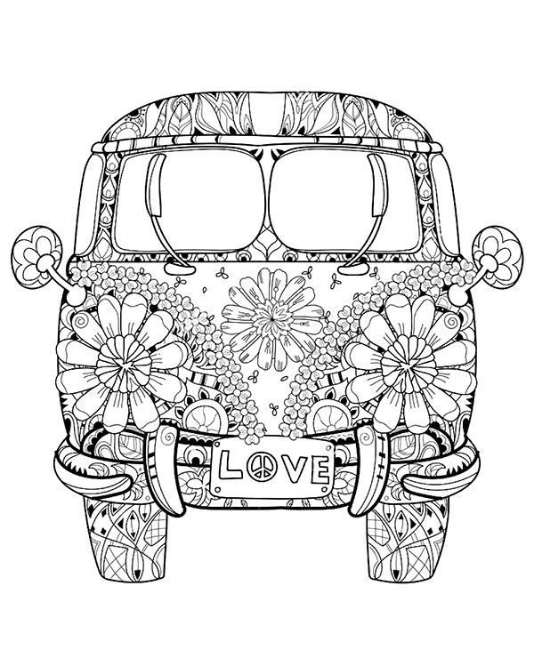 VW bus coloring page sheet | Colouring | Pinterest | Adult coloring ...