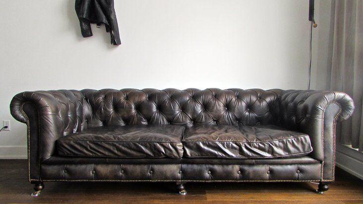 Great Restoration Hardware Kensington Leather Sofa U2014