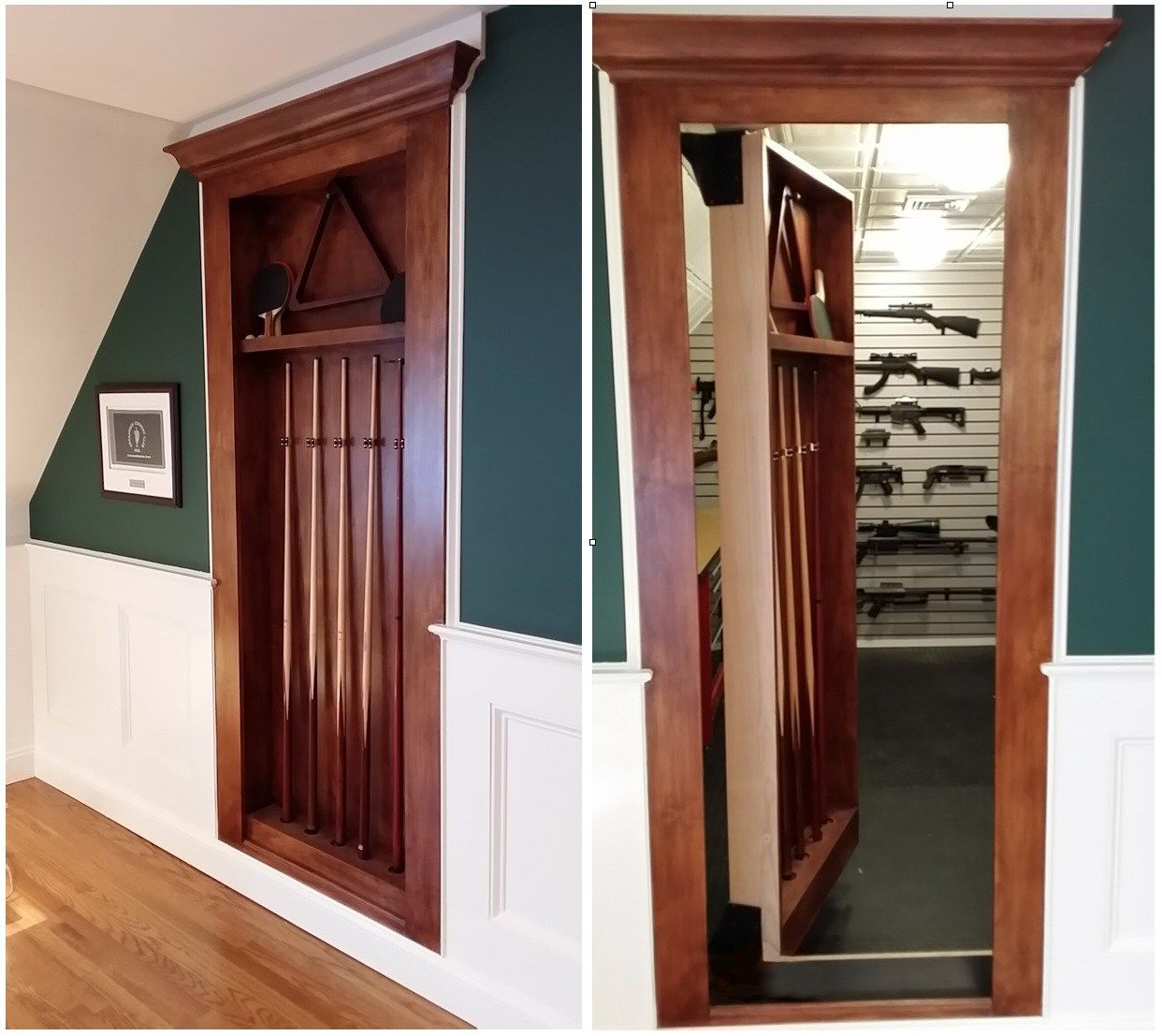 Project Type Built In Pool Cue Rack Wood Species Clear Alder Finish Stained Additional Features Electromagnetic Locking System