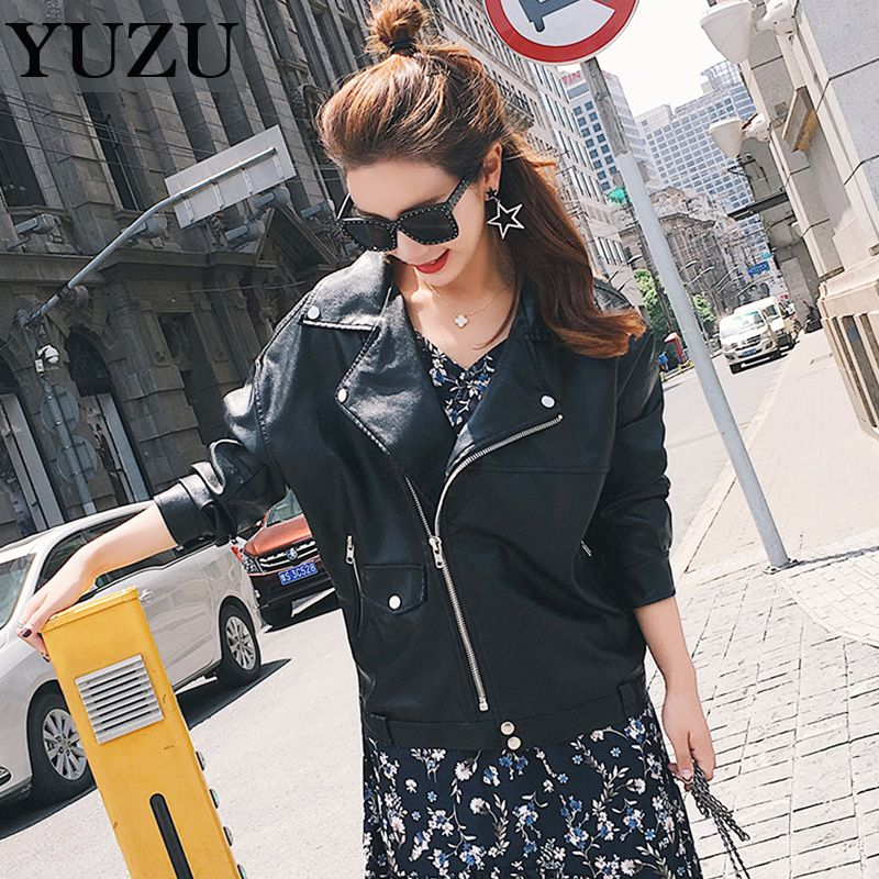 Faux Soft Leather Jacket 2017 Boyfriend Style Autumn Winter Women Pu Black Blazer Zippers Coat Motorcycle Outerwear pimkie * AliExpress Affiliate's buyable pin. Click the VISIT button to view the details on www.aliexpress.com #Womensjackets