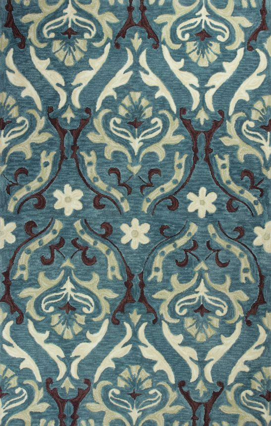 $5 Off when you share! Kas Oriental Anise Damask Teal Rug | Contemporary Rugs #RugsUSA