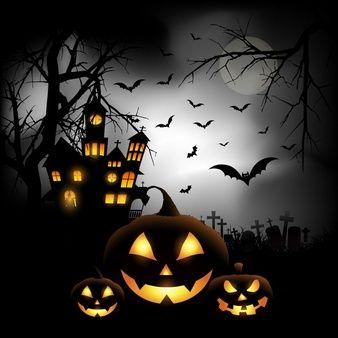 spooky halloween hintergrund mit k rbissen auf einem friedhof halloween halloween spr che. Black Bedroom Furniture Sets. Home Design Ideas