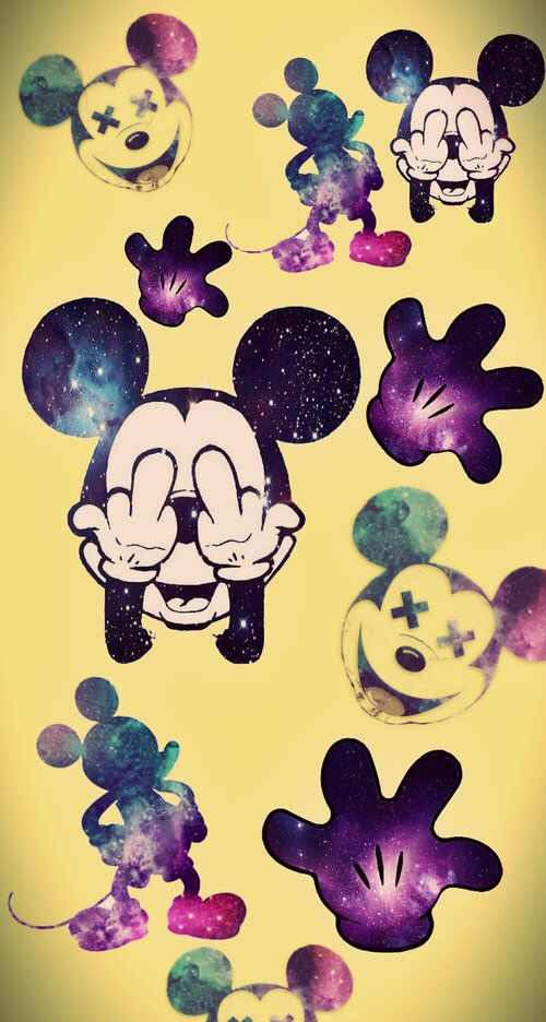 Image Via We Heart It Weheartit Entry 127066976 Background Crazy Galaxy Hipster Mickey Mouse Wallpaper