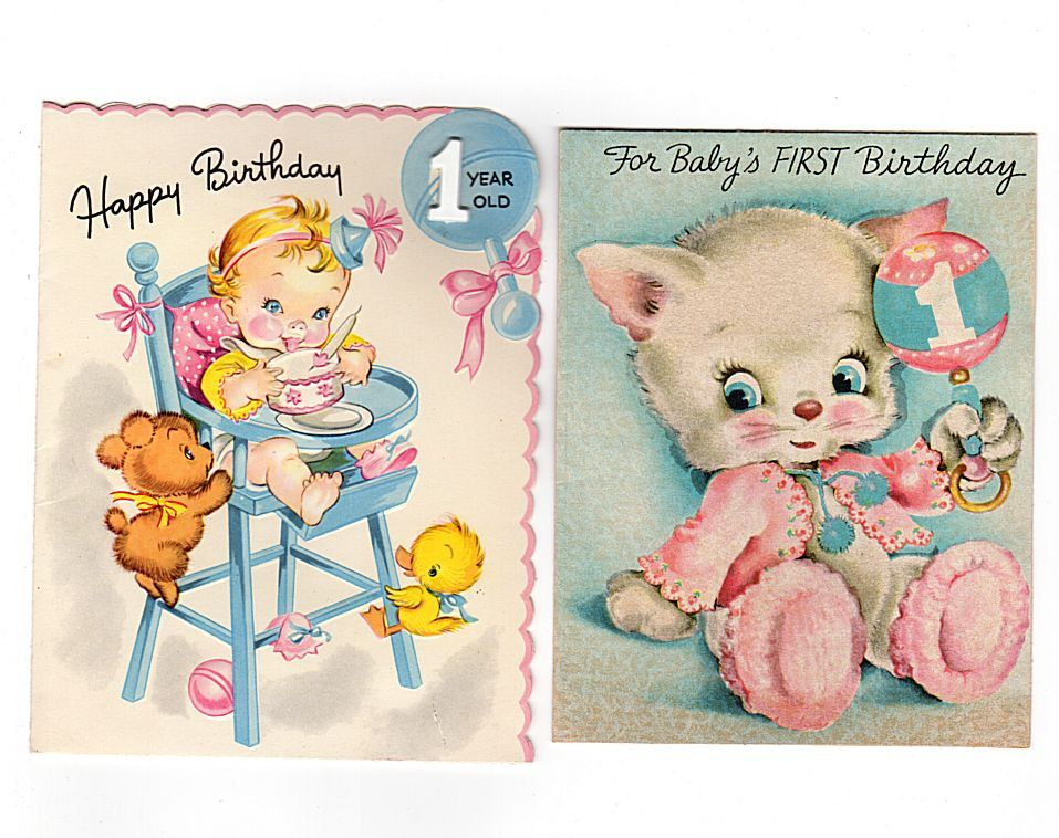 One Year Old Birthday Cards, Lot of 2, 1st Birthday Cards