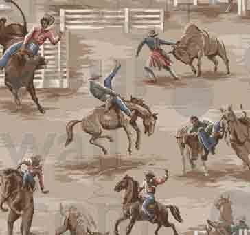 Western Rodeo Cowboy Vintage Custom Retro Wallcovering 179