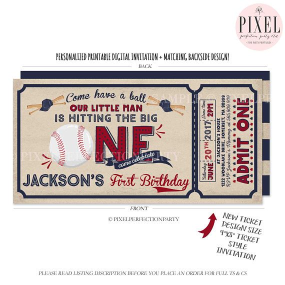 Baseball Birthday Invitation Ticket First Invite Boy 1st Vintage