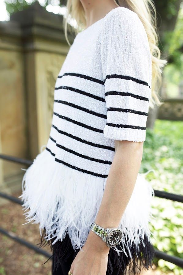 Lightweight sweater with stripes and feathers? Pretty much perfect. // Atlantic-Pacific