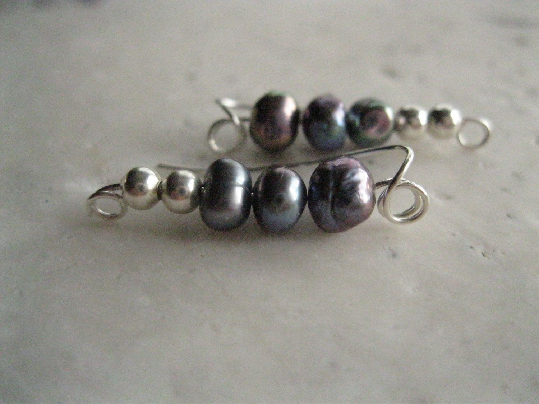 Pearl Ear Pins Sweeps Vines Sterling Silver. $20.00, via Etsy.