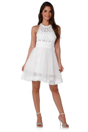 96f767f486a64 Robe blanche et grise petite robe fluide