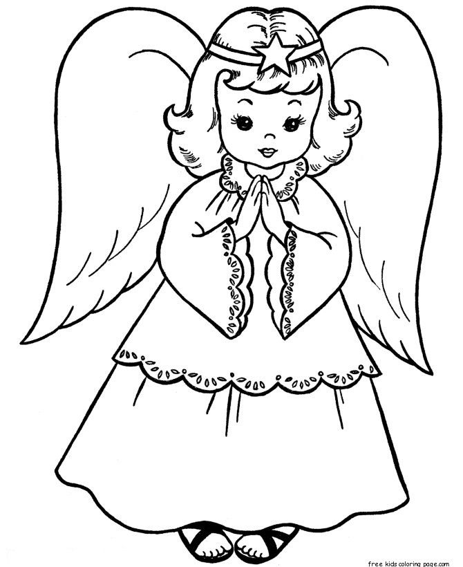 christmas angels coloring page print out for kids | Black & while ...