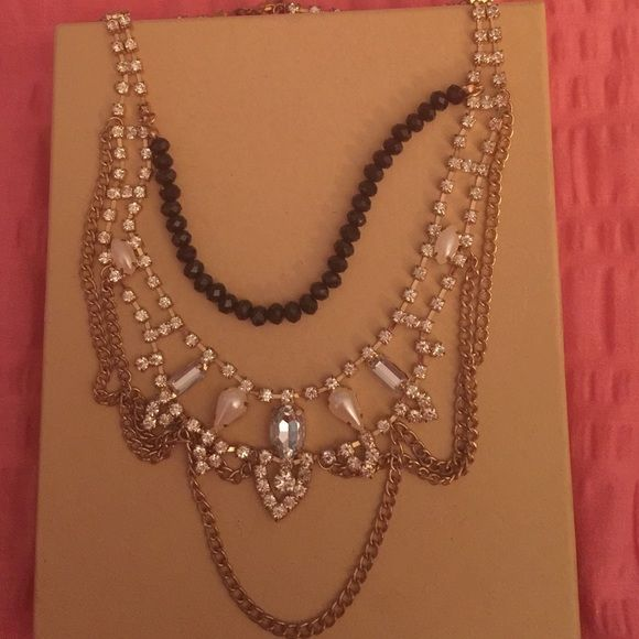 Beautiful necklace Rhinestone pearl and black beaded details. Looks amazing on. I'm actually wearing it in a pic in my closet!  Worn one time to a formal event. Jewelry Necklaces