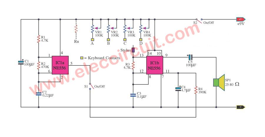 Ne556 Dual Timer Datasheet Pinout And Example Circuits Eleccircuit Com Circuit Simple Electronics Circuit Projects