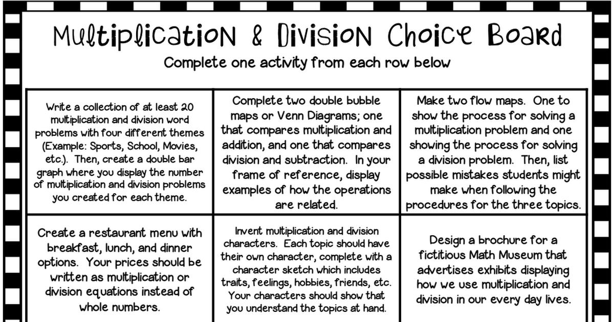 3rd grade math choice board multiplication division.pdf ...