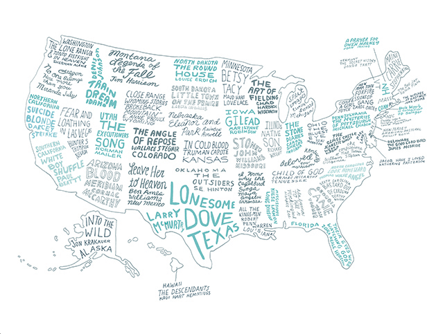 The Literary United States A Map Of The Best Book For Every State - Cute us map