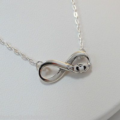 9e897ab96e924 Claddagh Infinity Necklace - 925 Sterling Silver - Celtic Love ...