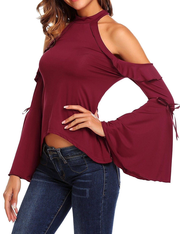 a7d6ff704897d Women Cotton Sexy Cold Shoulder Ruffle Bell Sleeve Blouse T-Shirt - Wine  Red -