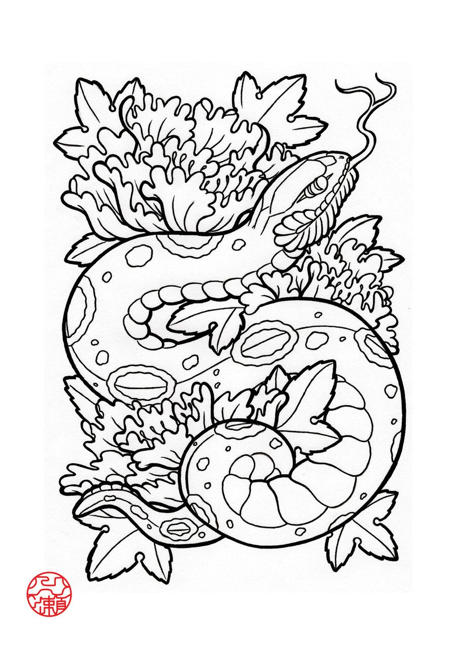 Japanese Tattoo Line Drawing : Snake by laranj deviantart adult colouring dragons