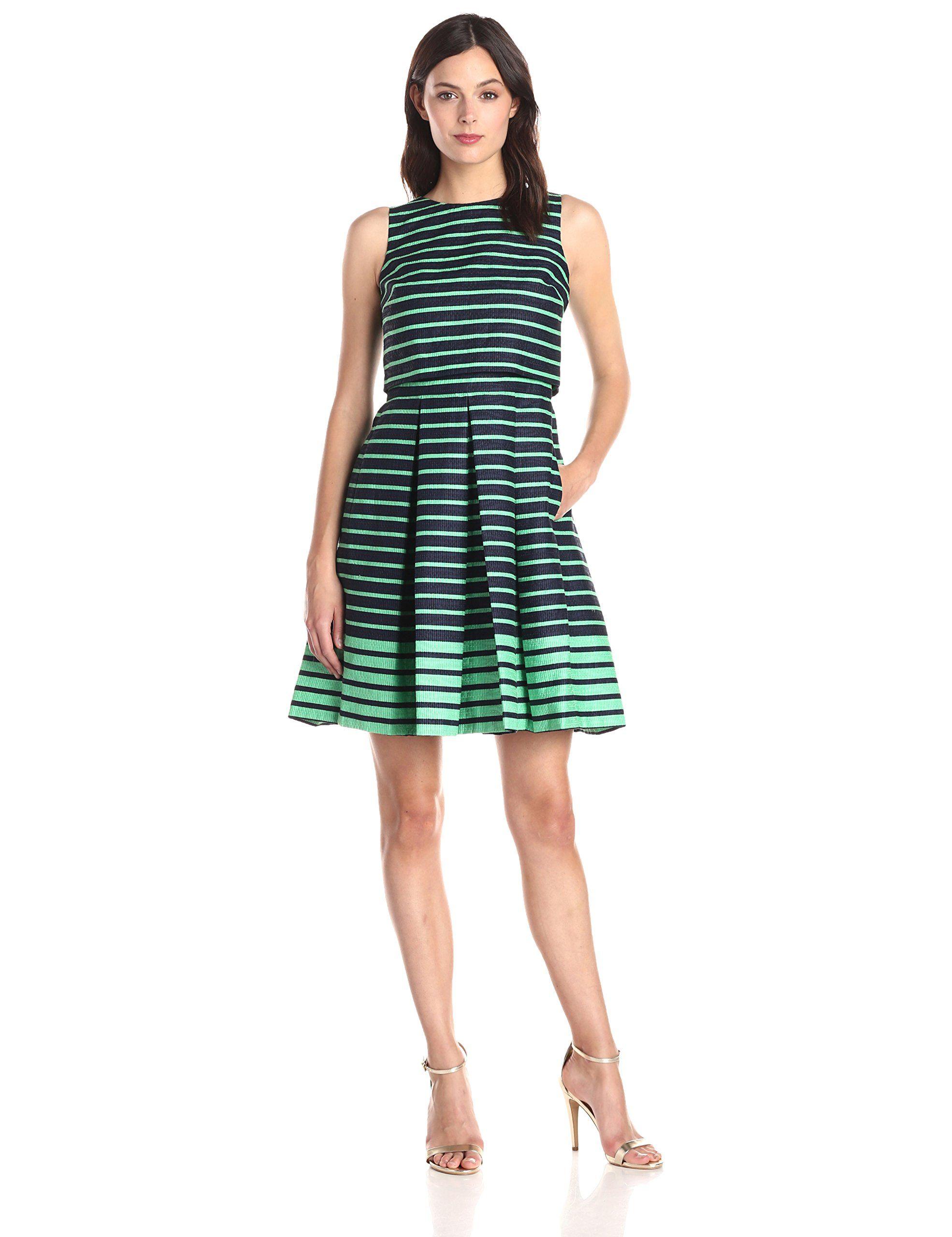 Taylor Dresses Women's Striped Popover Dress, Navy/Green, 10
