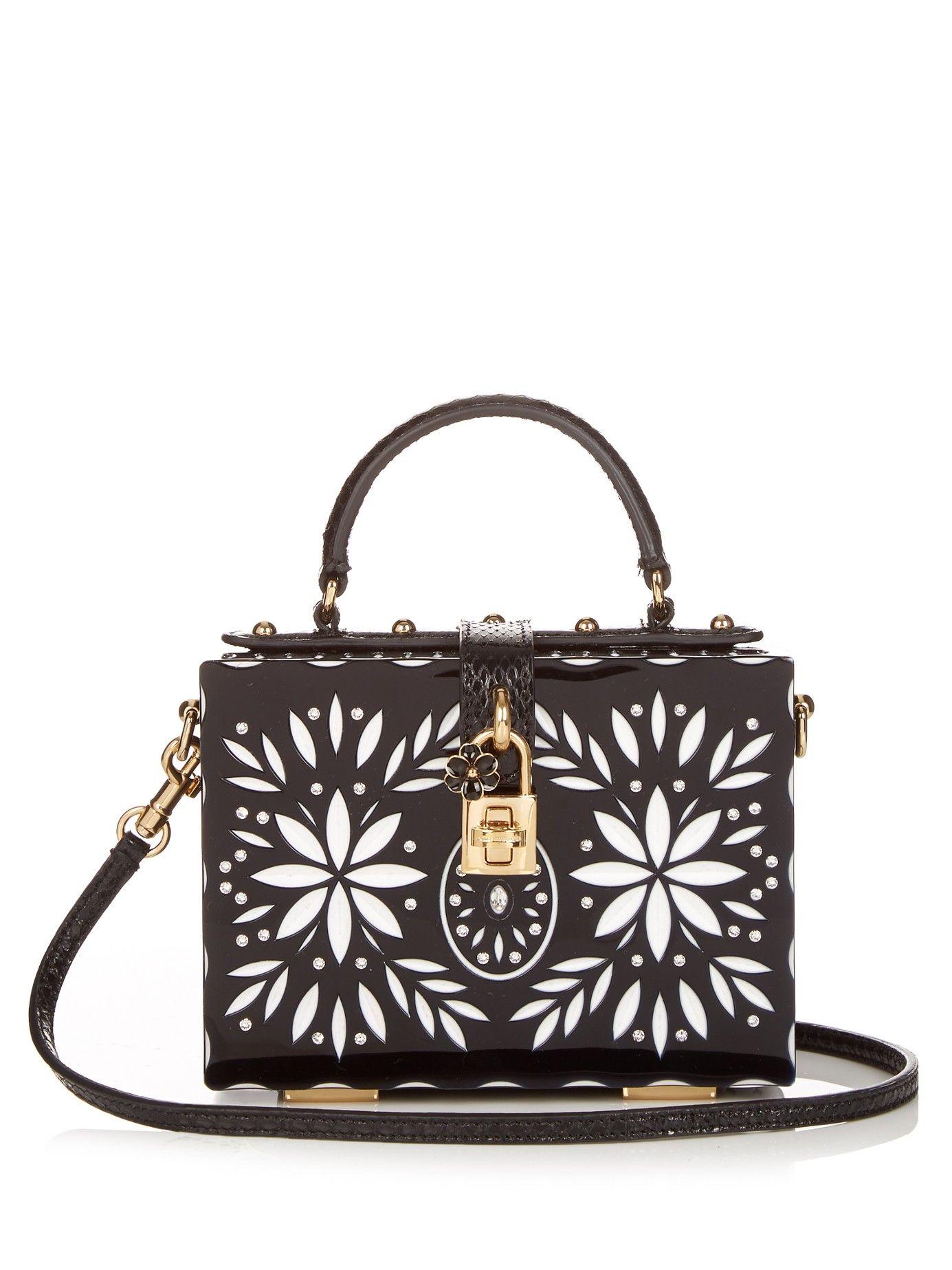 Flower-debossed Plexiglas box clutch   Dolce & Gabbana   MATCHESFASHION.COM