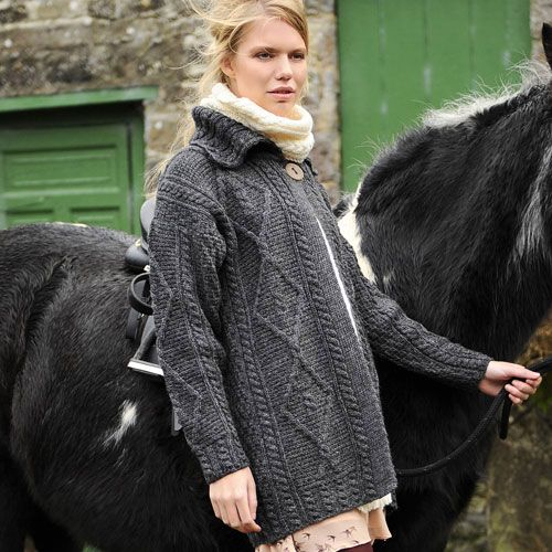 Irish Cardigan with Button - Wearing this 100% Pure New Wool one-button cardigan with classic cable detailing allows you to express your stylish side and love of the traditional - both at the same time.