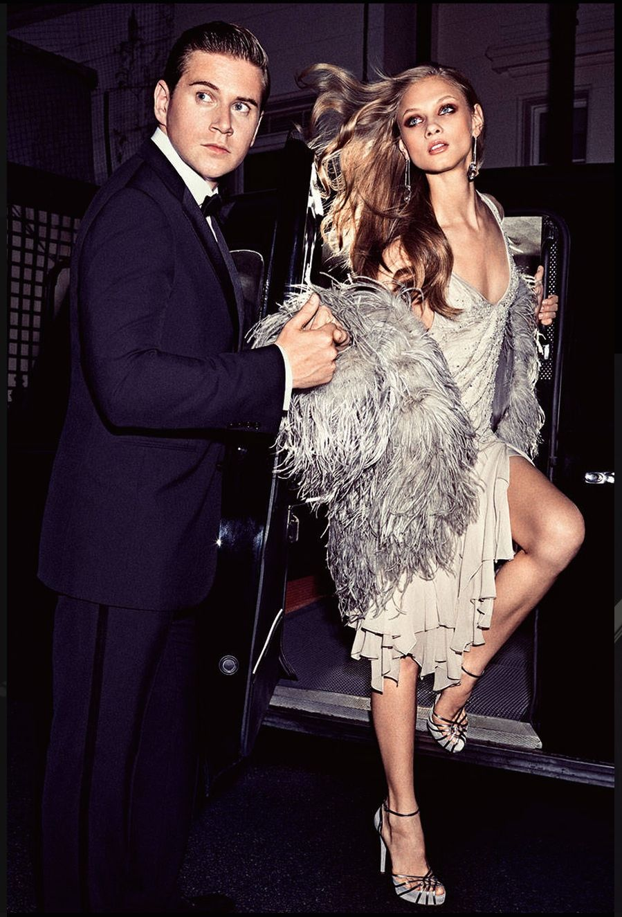 In Harper's Bazaar this month, Downton Abbey actor Allen Leech wears Ralph Lauren Purple Label and Anna Selezneva wears Look 18 from the Fall 2014 Ralph Lauren Collection, which is inspired by architectural shapes in soft, shimmering hues.