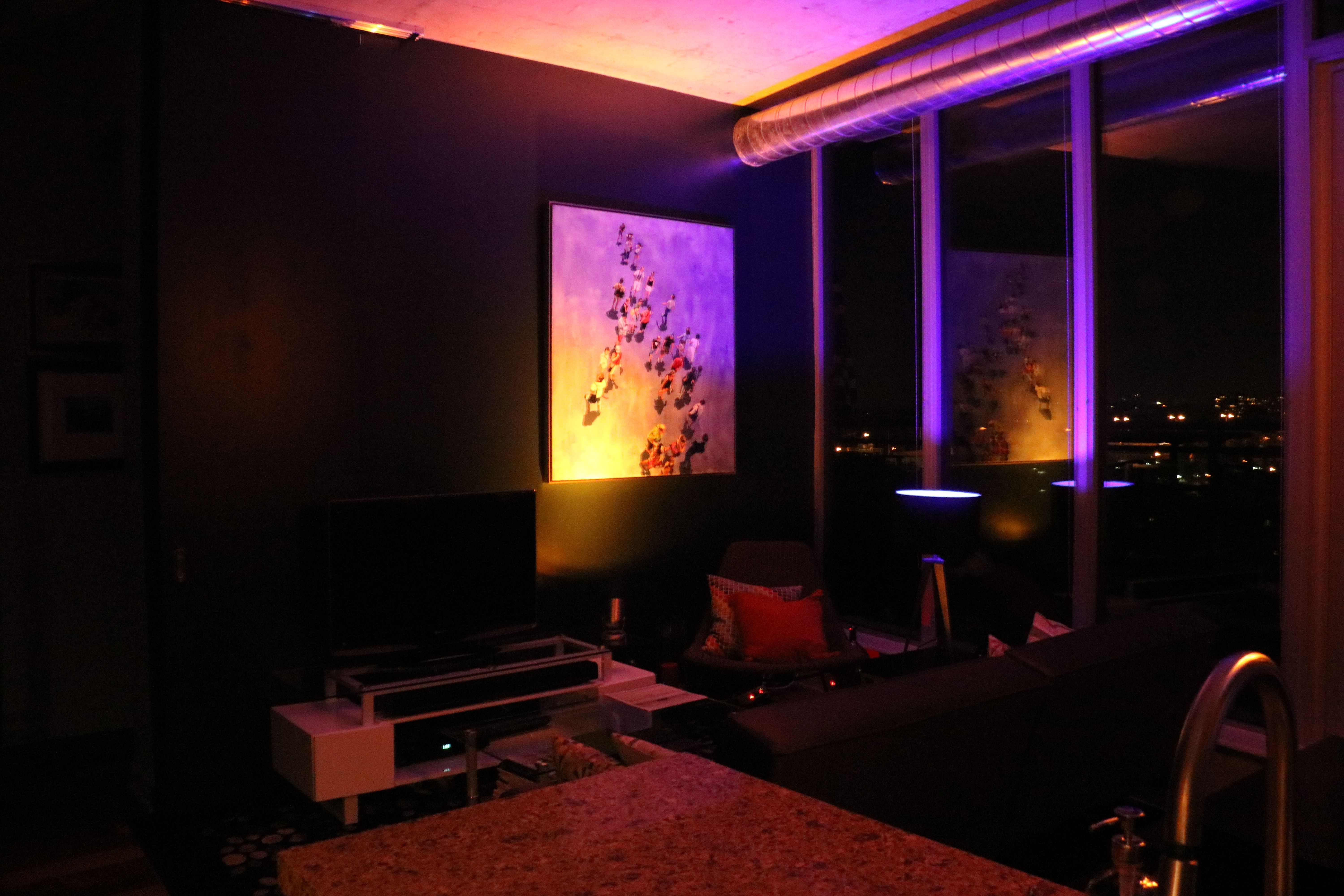 Living Room At Night With Philips Hue Gold Blue Light C