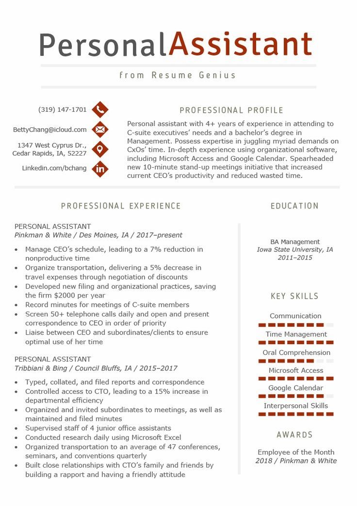 Personal Assistant Resume Sample & Writing Tips Resume