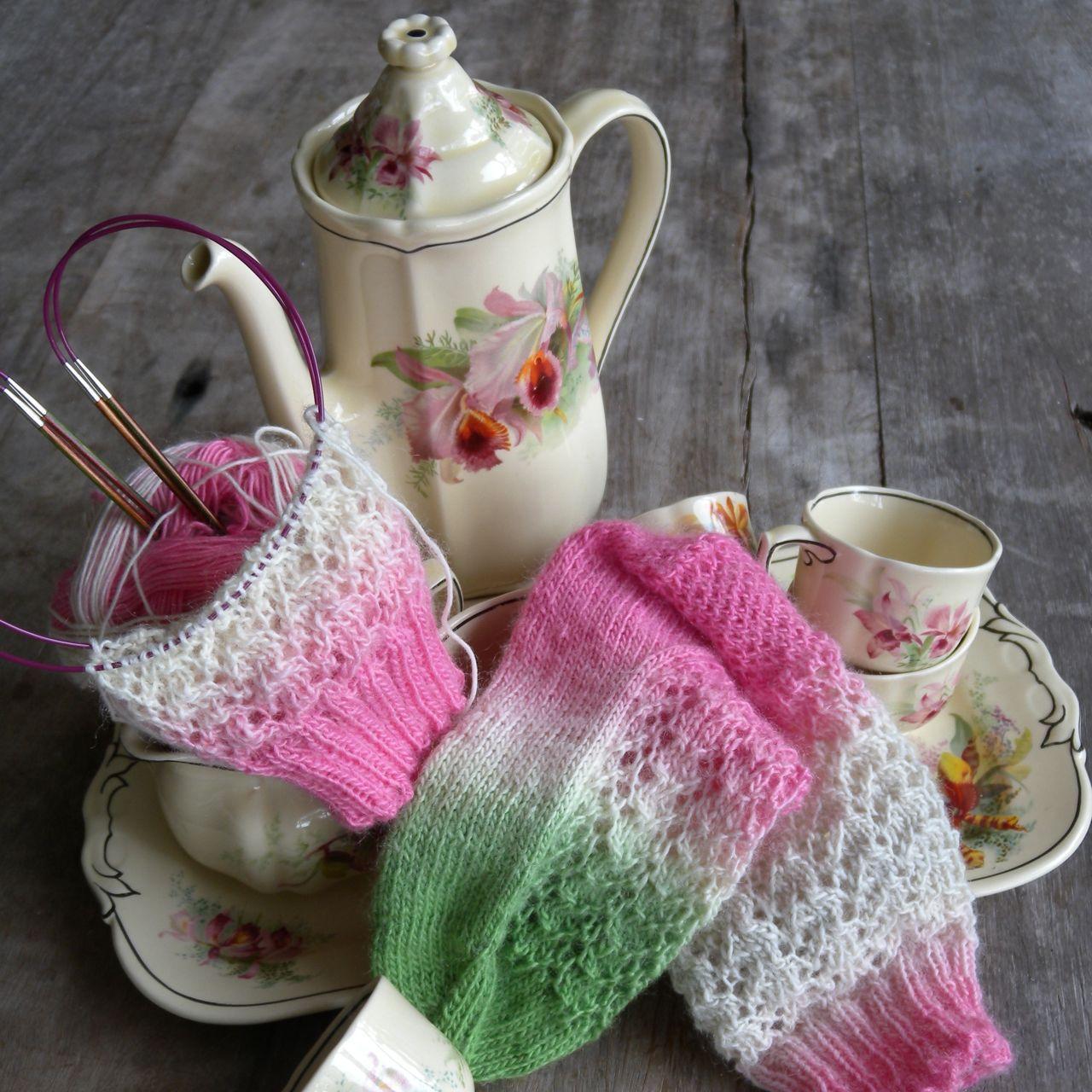 pretty socks made with zauberball sock yarn.