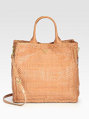 519d87eec444 Prada Madras Woven Leather Tote Bag