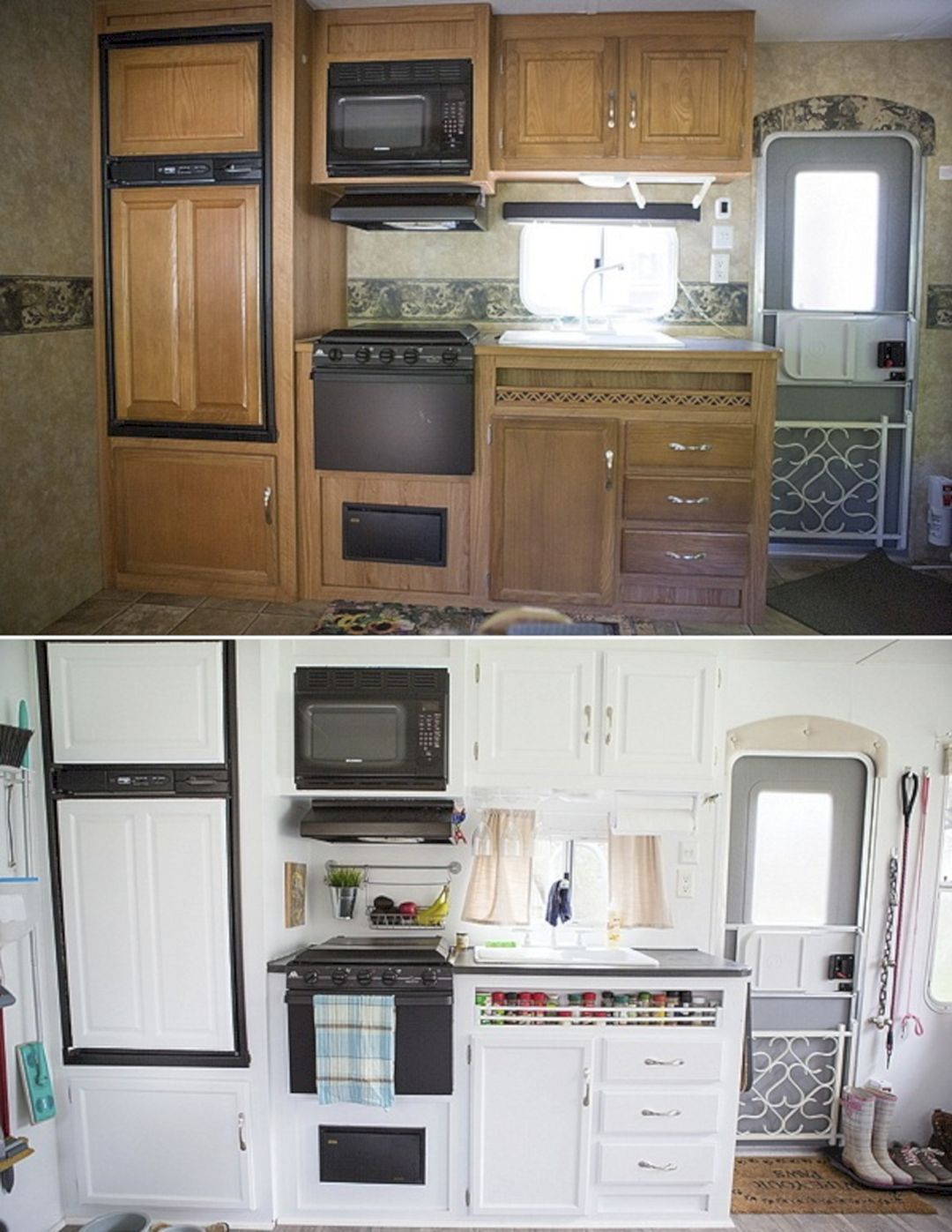 30 Awesome Rv Kitchen Remodel Ideas With Before And After Pictures 22 Rv Kitchen Remodel Remodeled Campers Rv Interior